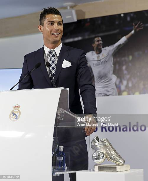 Cristiano Ronaldo gives a speech after receiving his trophy as alltime top scorer of of Real Madrid CF at Honour boxseat of Santiago Bernabeu Stadium...