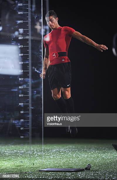 Cristiano Ronaldo has his jumping height measured during the filming of 'Ronaldo Tested to the Limit' a unique film revealing the attributes that...