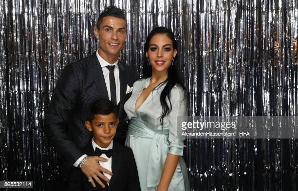 Cristiano Ronaldo his girlfriend Georgina Rodríguez and his son Cristiano Ronaldo Jr are pictured inside the photo booth prior to The Best FIFA...