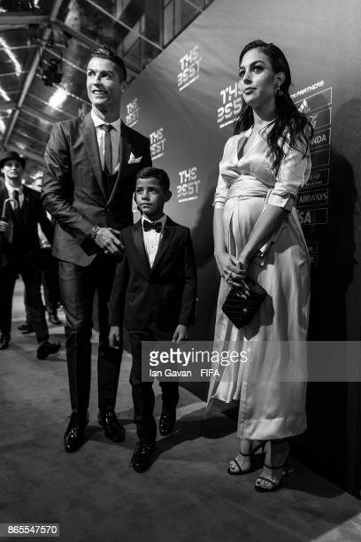 Cristiano Ronaldo his Girlfriend Georgina Rodriguez and his son Cristiano Ronaldo Jr arrives on the green carpet for The Best FIFA Football Awards at...