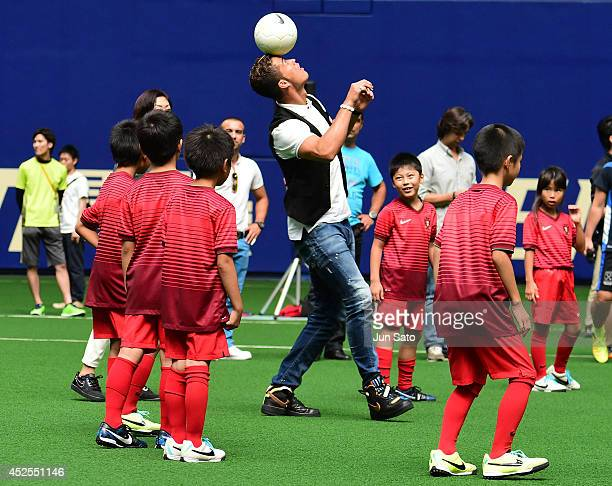 Cristiano Ronaldo holds a football workshop for the children at Nagoya Dome on July 23, 2014 in Nagoya, Japan.