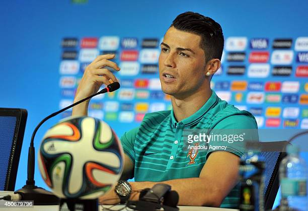 Cristiano Ronaldo holds a press conference prior to the match against Germany to be played on 16 June within the 2014 FIFA World Cup under Group G...