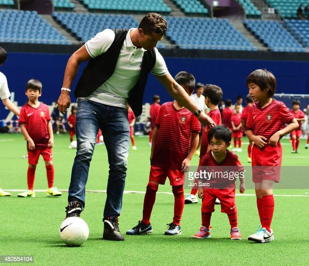 Cristiano Ronaldo holds football workshop for the children at Nagoya Dome on July 23, 2014 in Nagoya, Japan.