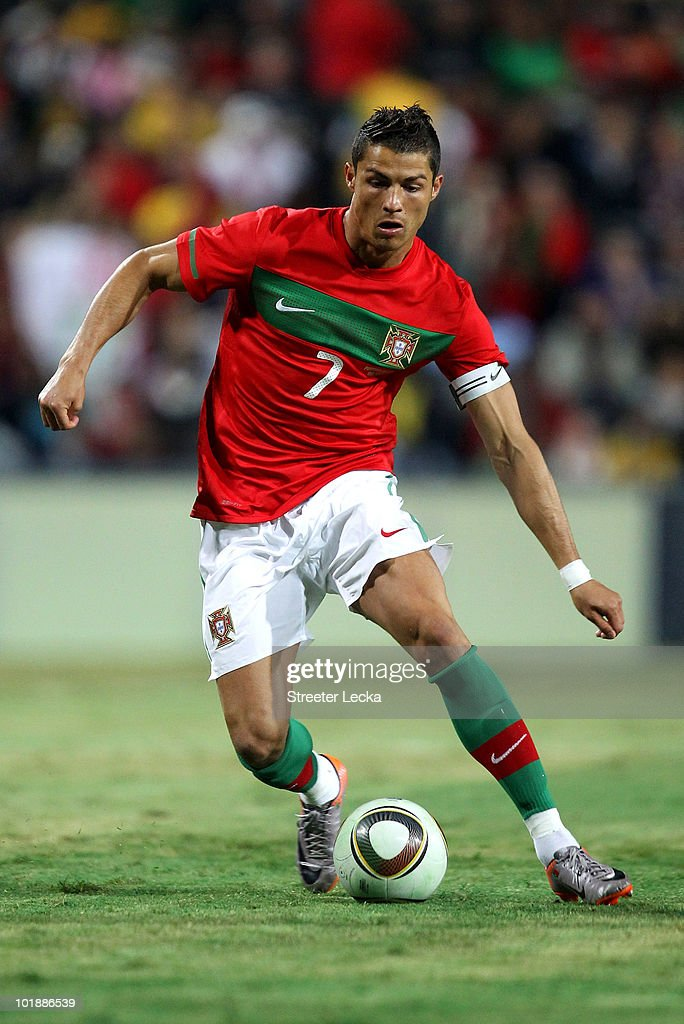 Cristiano Ronaldo in action during the international friendly match between Portugal and Mozambique at Wanderers Stadium on June 8, 2010 in Johannesburg, South Africa.