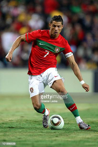 Cristiano Ronaldo in action during the international friendly match between Portugal and Mozambique at Wanderers Stadium on June 8 2010 in...