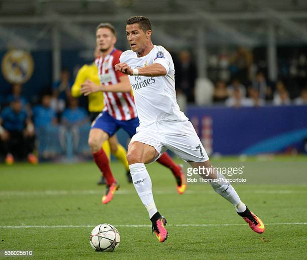 Cristiano Ronaldo in action for Real Madrid during the UEFA Champions League Final match between Real Madrid and Club Atletico de Madrid at Stadio...