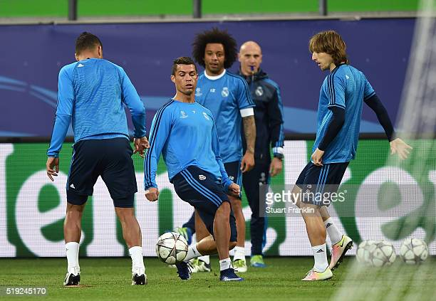 Cristiano Ronaldo in action with team mates during a Real Madrid training session ahead of their UEFA Champions League quarter final first leg match...