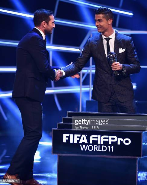 Cristiano Ronaldo is awarded in The FIFA Team of The Year award during The Best FIFA Football Awards at The London Palladium on October 23 2017 in...