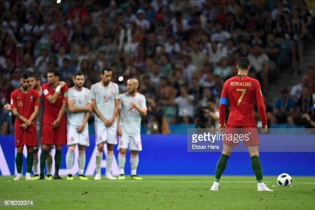 Cristiano Ronaldo is seen during the 2018 FIFA World Cup Russia group B match between Portugal and Spain at Fisht Stadium on June 15 2018 in Sochi...