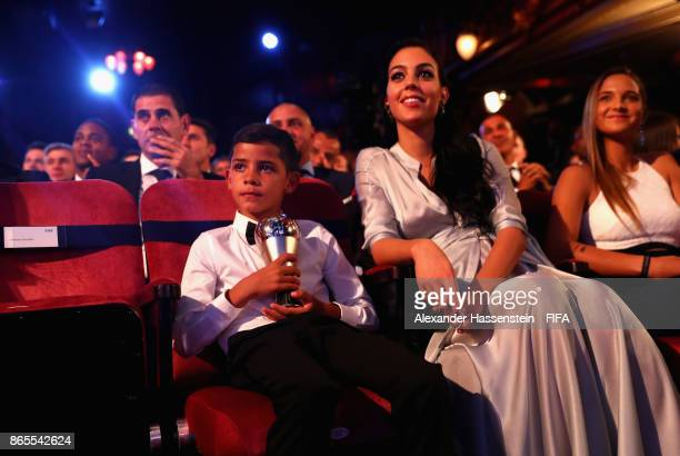 Cristiano Ronaldo Jr and Georgina Rodriguez watch on during The Best FIFA Football Awards at The London Palladium on October 23 2017 in London England