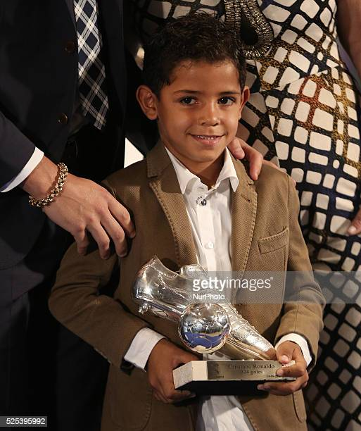 Cristiano Ronaldo Jr during a ceremony for becoming Real Madrid's alltime leading scorer at the Santiago Bernabeu stadium in Madrid on October 2 2015...