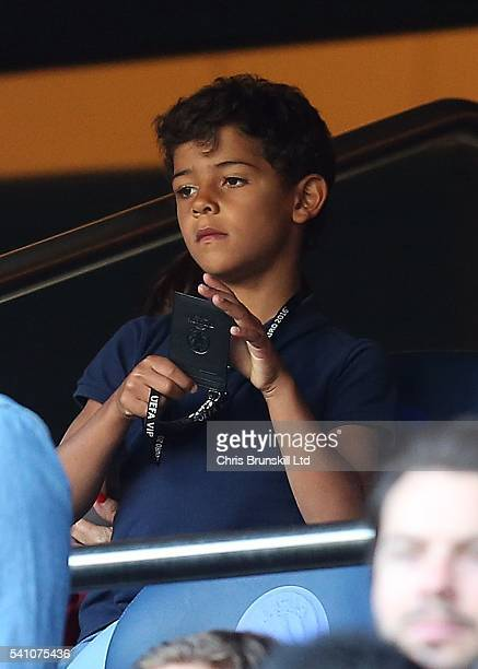 Cristiano Ronaldo Jr son of Cristiano Ronaldo looks on during the UEFA Euro 2016 Group F match between the Portugal and Austria at Parc des Princes...