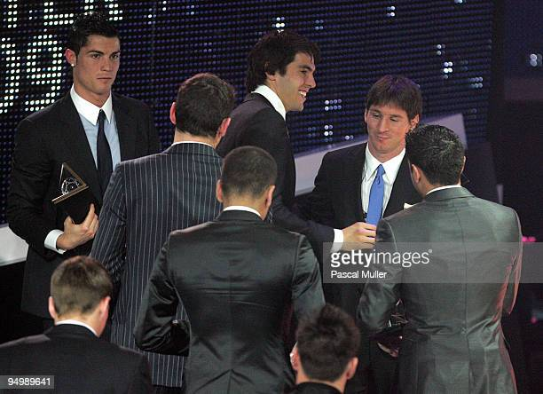 Cristiano Ronaldo Kaka and Lionel Messi after the FIFA World Player Gala 2009 at the Kongresshaus on December 21 2009 in Zurich Switzerland