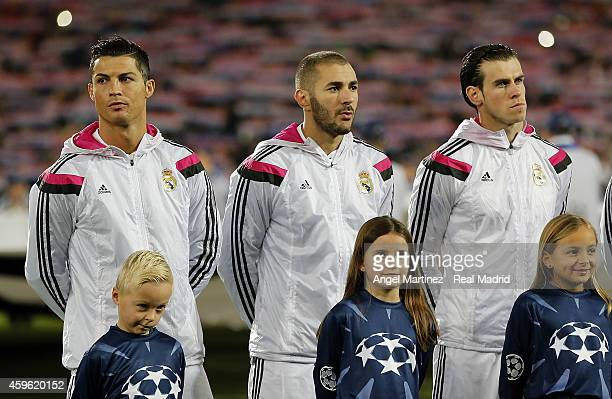 Cristiano Ronaldo Karim Benzema and Gareth Bale of Real Madrid line up before the UEFA Champions League Group B match between FC Basel 1893 and Real...
