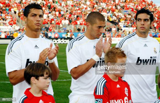 Cristiano Ronaldo Karim Benzema and Kaka of Real Madrid before the match between Toronto FC and Real Madrid at BMO Field on August 7 2009 in Toronto...