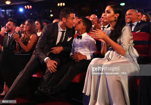Cristiano Ronaldo kisses his son Cristiano Ronaldo Jr after being announced the winner of The Best FIFA Men's Player award during The Best FIFA...
