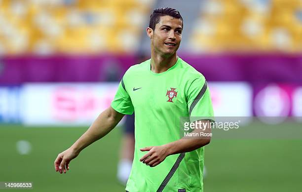 L'VIV UKRAINE JUNE 08 Cristiano ROnaldo looks on during a Portugal training session ahead of UEFA Euro 2012 at Arena Lviv on June 8 2012 in L'viv...
