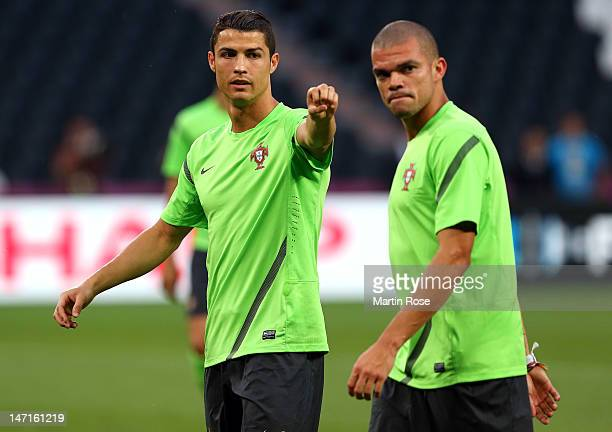 Cristiano Ronaldo looks on during a Portugal training session ahead of UEFA Euro 2012 SemiFinal 2012 at Donbass Arena on June 26 2012 in Donetsk...