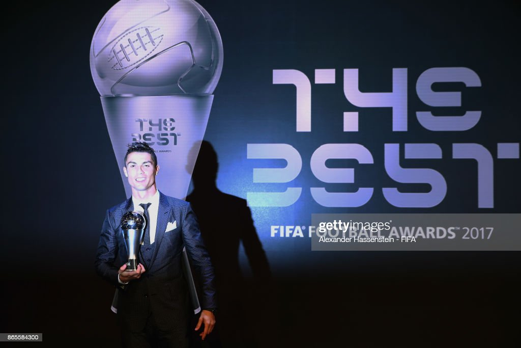 Cristiano Ronaldo looks on with his The Best FIFA Men's Player award after The Best FIFA Football Awards at The London Palladium on October 23, 2017 in London, England.
