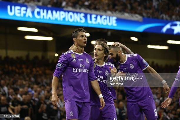 Cristiano Ronaldo Luka Modric and Karim Benzema of Real Madrid celebrating the UEFA Champions League Final between Juventus and Real Madrid at...