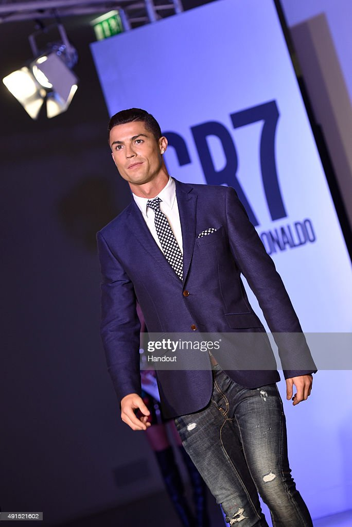 Cristiano Ronaldo makes his catwalk debut to model new styles at the global launch of his FW15 CR7 Footwear collection on October 5, 2015 in Guimaraes, Portugal.