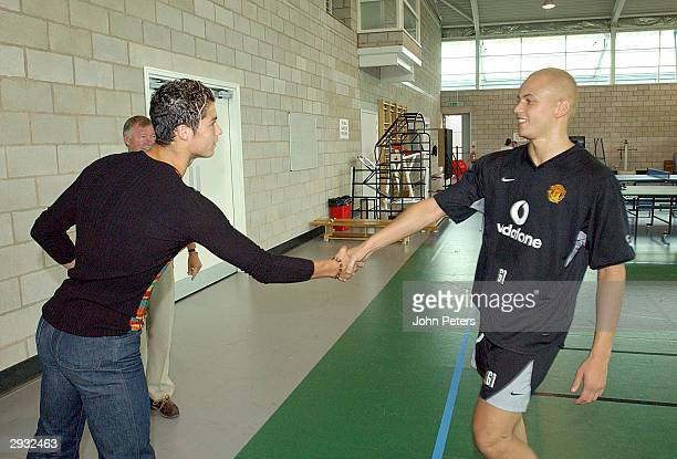 Cristiano Ronaldo meets Wes Brown for the first time on the Carrington basketball court as Sir Alex Ferguson shows Ronaldo around the The Carrington...