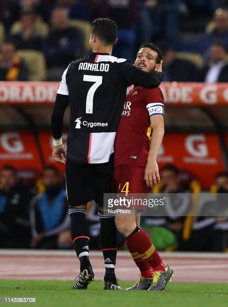 Cristiano Ronaldo of Juventus and Alessandro Florenzi of Roma during the Italian Serie A football match AS Roma v Fc Juventus at the Olimpico Stadium...