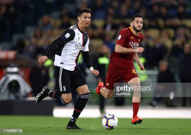 Cristiano Ronaldo of Juventus and Konstantin Manolas of Roma during the Italian Serie A football match AS Roma v Fc Juventus at the Olimpico Stadium...