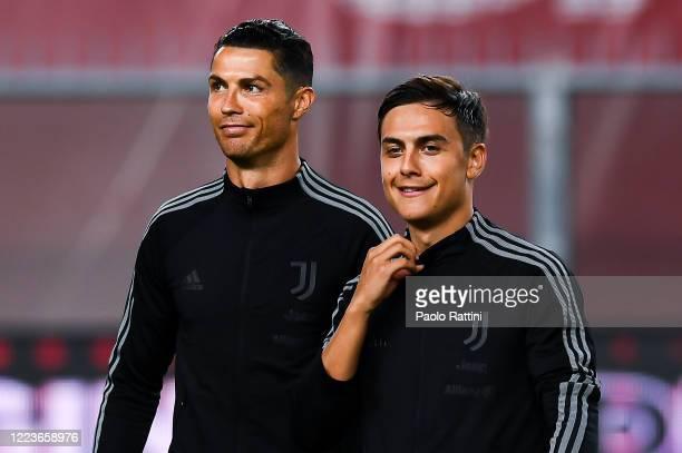 Cristiano Ronaldo of Juventus and Paulo Dybala of Juventus lineup before the Serie A match between Genoa CFC and Juventus FC at Stadio Luigi Ferraris...