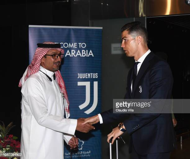 Cristiano Ronaldo of Juventus arrives to Jeddah King Abdulaziz International Airport before the Italian Supercup between Juventus FC and AC Milan on...