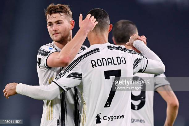 Cristiano Ronaldo of Juventus celebrates 3-0 with Matthijs de Ligt of Juventus during the Italian Serie A match between Juventus v Udinese at the...