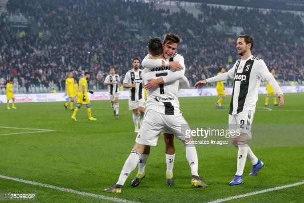 Cristiano Ronaldo of Juventus Celebrates 30 with Paulo Dybala of Juventus Mattia De Scigglio of Juventus during the Italian Serie A match between...