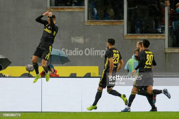 Cristiano Ronaldo of Juventus celebrates a second goal a penalty with his team mates during the Serie A match between SS Lazio and Juventus at Stadio...