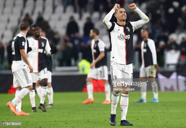 Cristiano Ronaldo of Juventus celebrates a victory at the end of the Serie A match between Juventus and Parma Calcio at Allianz Stadium on January 19...