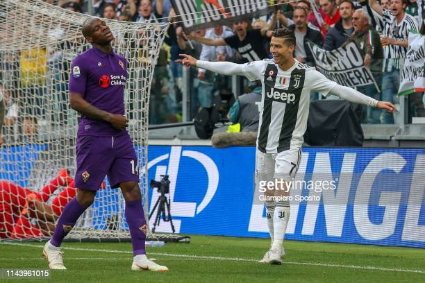 Cristiano Ronaldo of Juventus celebrates after German Pezzella of ACF Fiorentina scored an own goal during the Serie A match between Juventus and ACF...