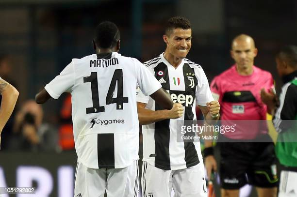 Cristiano Ronaldo of Juventus celebrates after scoring a goal during the Serie A match between Empoli and Juventus at Stadio Carlo Castellani on...