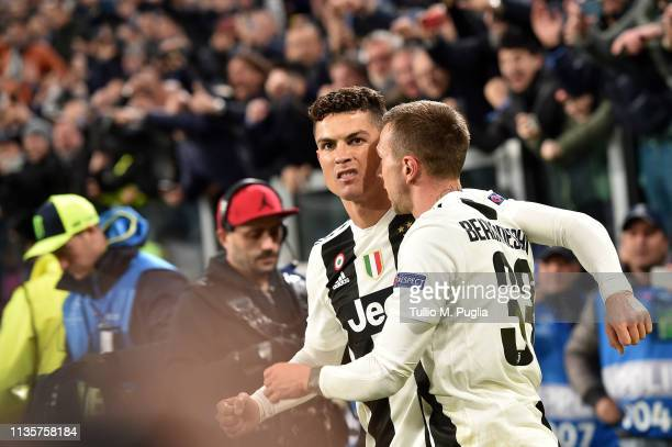 Cristiano Ronaldo of Juventus celebrates after scoring a goal during the UEFA Champions League Round of 16 Second Leg match between Juventus and Club...