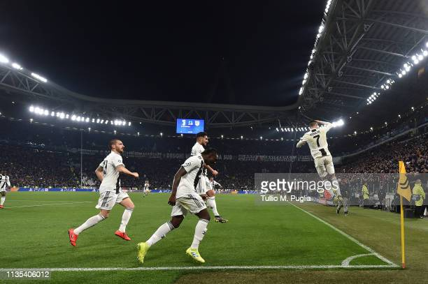Cristiano Ronaldo of Juventus celebrates after scoring a penalty during the UEFA Champions League Round of 16 Second Leg match between Juventus and...
