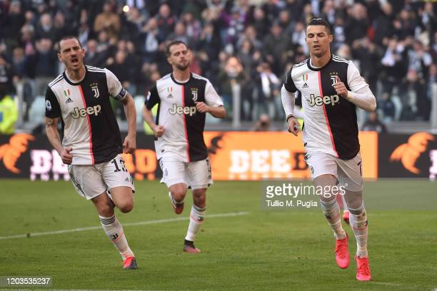 Cristiano Ronaldo of Juventus celebrates after scoring a penalty during the Serie A match between Juventus and ACF Fiorentina at Allianz Stadium on...