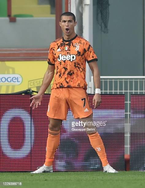 Cristiano Ronaldo of Juventus celebrates after scoring goal 1-2 during the Serie A match between Spezia Calcio and Juventus at Dino Manuzzi Stadium...
