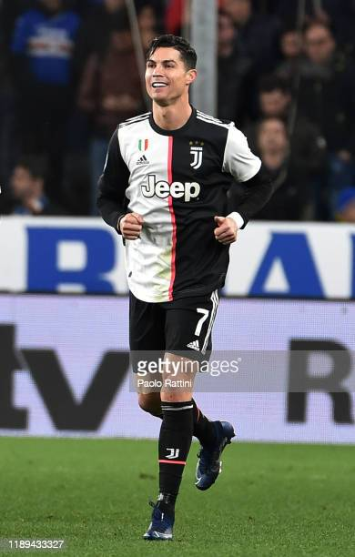 Cristiano Ronaldo of Juventus celebrates after scoring his first goal during the Serie A match between UC Sampdoria and Juventus at Stadio Luigi...