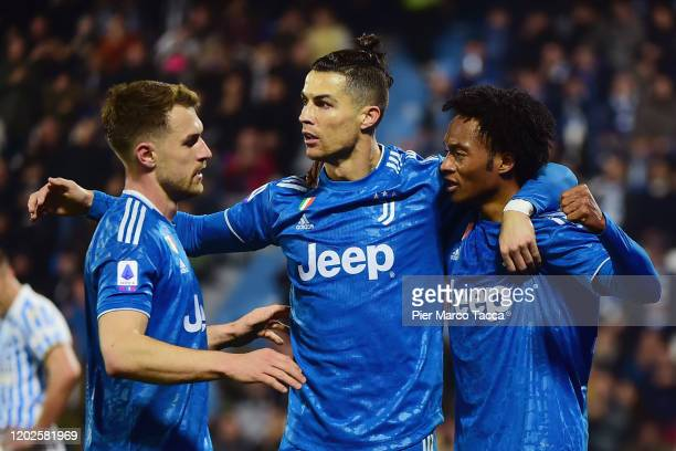 Cristiano Ronaldo of Juventus celebrates after scoring his first goal with teammates during the Serie A match between SPAL and Juventus at Stadio...