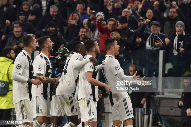 Cristiano Ronaldo of Juventus celebrates after scoring his second goal during the UEFA Champions League Round of 16 Second Leg match between Juventus...