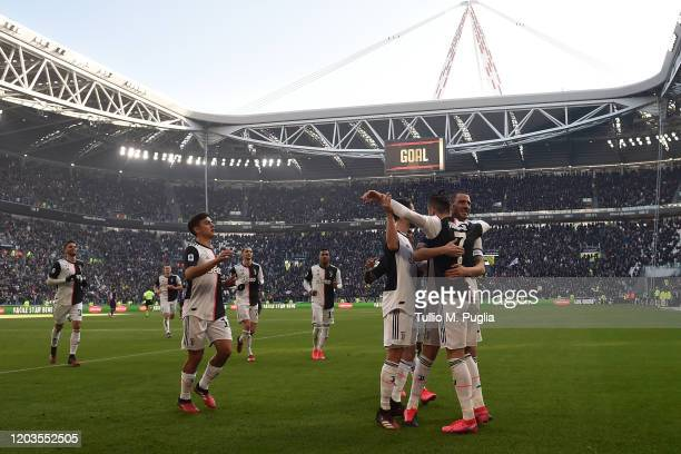 Cristiano Ronaldo of Juventus celebrates after scoring his second penalty during the Serie A match between Juventus and ACF Fiorentina at Allianz...