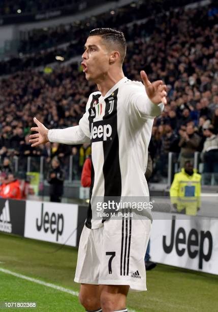 Cristiano Ronaldo of Juventus celebrates after scoring his sides first goal during the Serie A match between Juventus and SPAL at Allianz Stadium on...