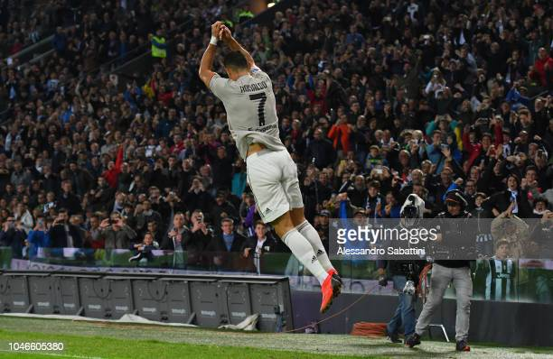 Cristiano Ronaldo of Juventus celebrates after scoring his team second goal during the Serie A match between Udinese and Juventus at Stadio Friuli on...