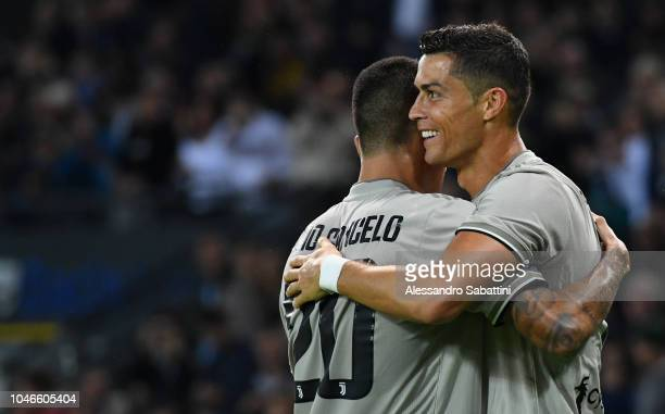 Cristiano Ronaldo of Juventus celebrates after scoring his team second goal whit team mates during the Serie A match between Udinese and Juventus at...