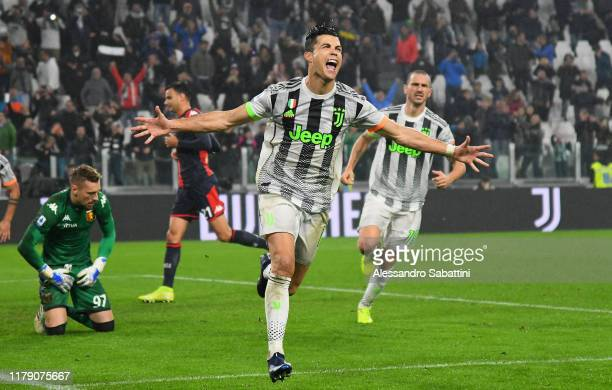Cristiano Ronaldo of Juventus celebrates after scoring his team second goal during the Serie A match between Juventus and Genoa CFC at on October 30...