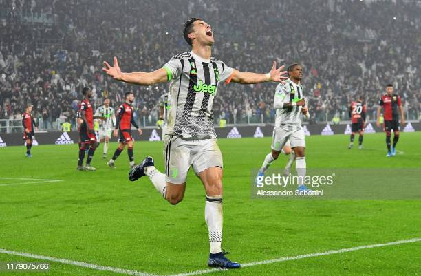 Cristiano Ronaldo of Juventus celebrates after scoring his team second goal during the Serie A match between Juventus and Genoa CFC at on October 30,...
