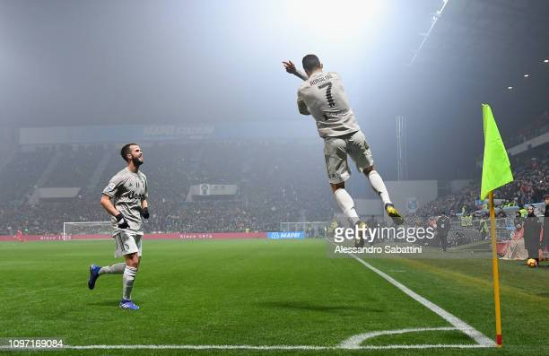 Cristiano Ronaldo of Juventus celebrates after scoring his team's second goal during the Serie A match between US Sassuolo and Juventus at Mapei...